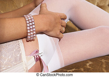 Lingerie #18 - Lace up pink lingerie and garter