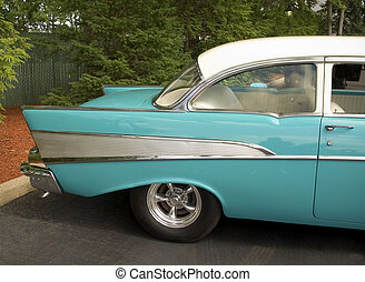 Aqua Classic Car - This is a shot of an old aqua colored...