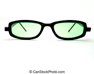 Cool Green Shades - A pair of black horn-rimmed sunglasses...