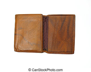 Old Wallet - Old brown leather wallet opened, on white...