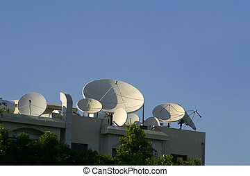 Whats on TV - Satellite dishes of various sizes on a roof...