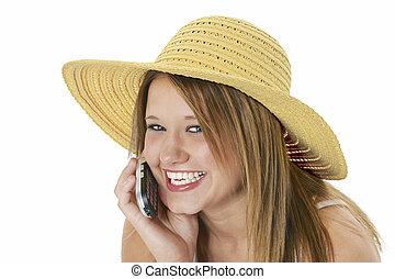 adolescente,  cellphone, menina