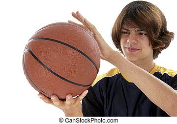 Teen Boy Basketball - Teen Boy Holding Basket Ball Over...