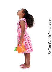 Beautiful Young Girl With Flower Watering Can Looking Up....