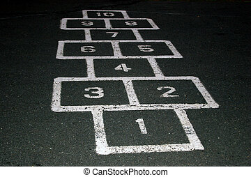 Hop Scotch - Hop scotch on a playground at a school at...