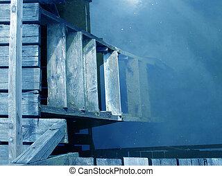 bleu, eau, escalier
