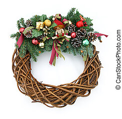Christmas Wreath - A Christmas wreath isolated on a white...