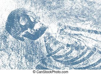 Skull background - Skeleton imprint on paper.