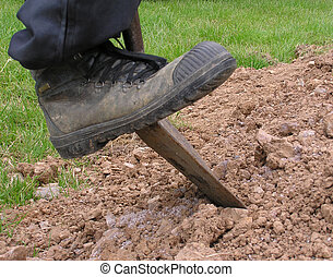 Dig 3 - Boot pushing spade into earth