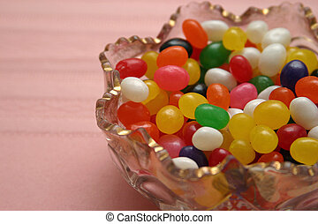 Bowl Of Jelly Beans - a crystal bowl filled with colorful...