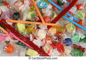 Candy Pile - A colorful pile of assorted candy Possible...
