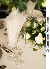 Champagne Glasses - Table setting with champagne glasses
