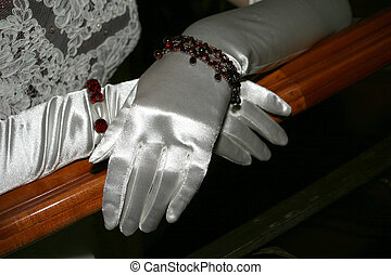 Silk Gloves - Silk gloves on a bannister