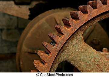 metal gear - close-up of a large, rusty old gear at an...
