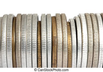 Coins, white background