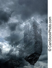 Dark castle - Monolith in the clouds - manipulated photo...