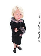 Child Girl Standing - Beautiful Little Business Woman In...