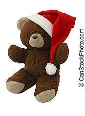 blank 10 - A teddy bear wearing a santa hat Angled view,...