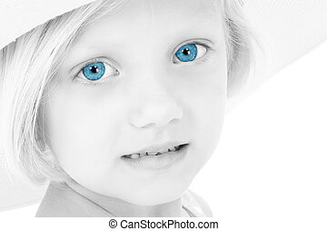 Girl Child Blue Eyes - Black and White of young girl with...