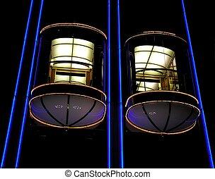 Elevators - Modern illuminated elevators...