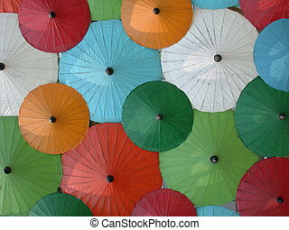 Asian umbrellas - Handicraft umbrella´s, Chiang Mai,...