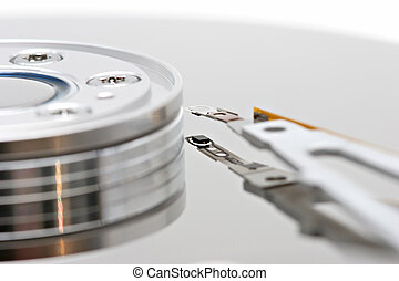 hard drive macro - isolated macro of a pc hard drive, white...