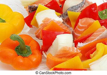 salmon kabob - salmon and veggies on a skewer
