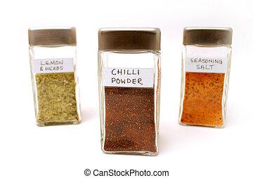 Spice bottles 2 - Lemon and herbs, Seasoning salt - Chilli...