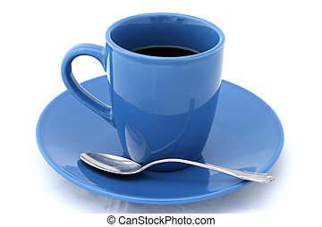 Cup Of Coffee - A blue cup filled with black coffee and a...