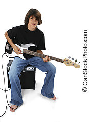 Teen Boy Bass Guitar - Boy With Black And White Bass Guitar...