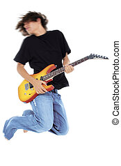 Teen Boy Guitar - Boy Jumping With Electric Guitar Motion...