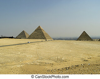 Pyramids of Egypt - The three Pyramids of Giza Giseh around-...