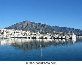 Puerto Banus - The port of Puerto Banus near Marbella Spain...