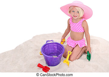 Girl Child Beach - Beautiful Little Girl In Pink Swim Suit...
