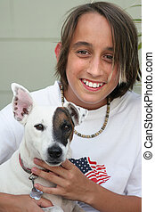Boy & His Dog - A boy posing with his Jack Russel Terrier.