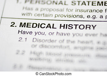 paperwork 1 - Medical History - Insurance form about medical...