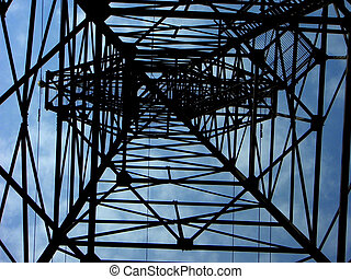 Power line tower - View up powerline pylon, shape and form