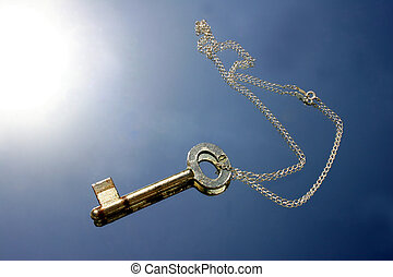 Key to Success - Key with chain and blue backdrop