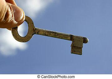 First House Key - Key, hand and blue sky