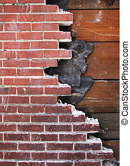 Broken wall - The wall of a building undergoing renovations....