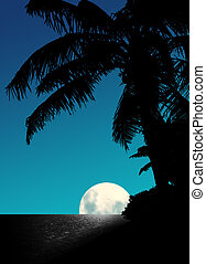 Blue Moon Rise - Artistic Blue Moon Rise