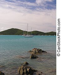 Caribbean Yachting - A sailing yacht in the bay of St....