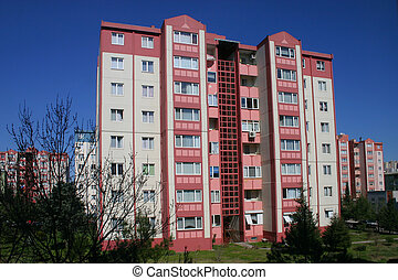 Pink Appartments - Block of pink appartments in Izmit,...