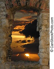 Sunset Window - A sunset in a historical window