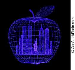 Blacklight Big Apple - Closeup of a blacklight illuminated...