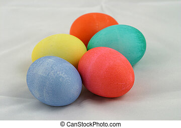 Five Easter Eggs 2 - Five colorful Easter eggs against a...