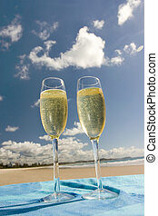 Glasses of Champagne - Two glasses of champagne shot with...