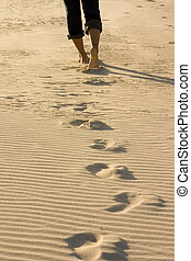 Footprints - Walking along Bribie Island beach..