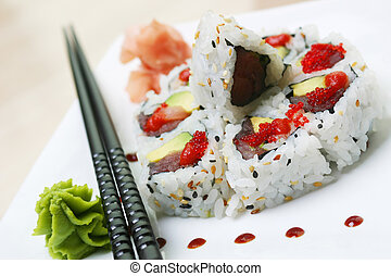Sushi Rolls - Crab, fresh avocado and cucumber, rolled...