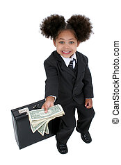 Girl Child Money Fun - Beautiful Little Business Woman With...